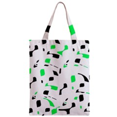 Green, black and white pattern Zipper Classic Tote Bag