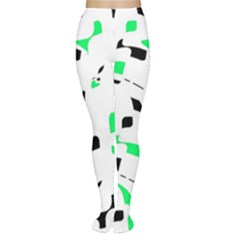 Green, black and white pattern Women s Tights