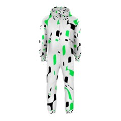 Green, black and white pattern Hooded Jumpsuit (Kids)
