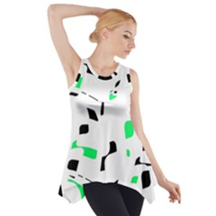 Green, Black And White Pattern Side Drop Tank Tunic