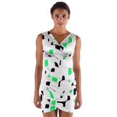 Green, Black And White Pattern Wrap Front Bodycon Dress