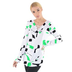 Green, black and white pattern Women s Tie Up Tee
