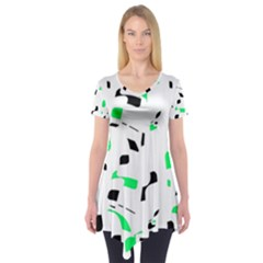 Green, black and white pattern Short Sleeve Tunic