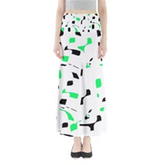 Green, black and white pattern Maxi Skirts