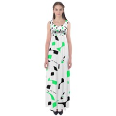 Green, Black And White Pattern Empire Waist Maxi Dress
