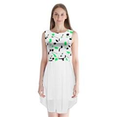 Green, black and white pattern Sleeveless Chiffon Dress