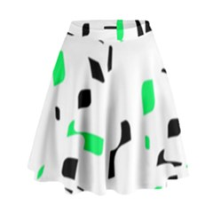 Green, black and white pattern High Waist Skirt