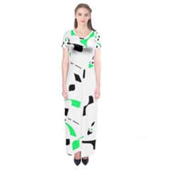 Green, black and white pattern Short Sleeve Maxi Dress