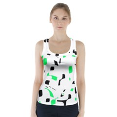 Green, black and white pattern Racer Back Sports Top