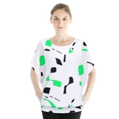 Green, Black And White Pattern Blouse