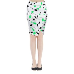 Green, black and white pattern Midi Wrap Pencil Skirt