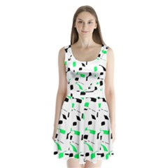 Green, Black And White Pattern Split Back Mini Dress