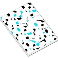 Blue, black and white pattern Large Memo Pads