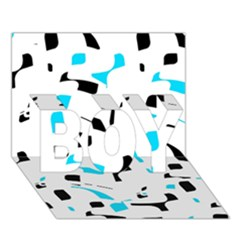 Blue, black and white pattern BOY 3D Greeting Card (7x5)