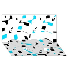 Blue, black and white pattern Twin Heart Bottom 3D Greeting Card (8x4)