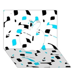 Blue, black and white pattern Apple 3D Greeting Card (7x5)