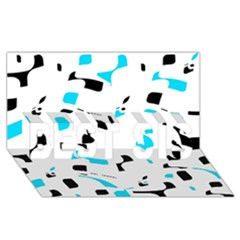 Blue, black and white pattern BEST SIS 3D Greeting Card (8x4)