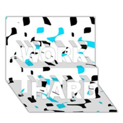 Blue, black and white pattern WORK HARD 3D Greeting Card (7x5)