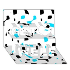 Blue, black and white pattern Get Well 3D Greeting Card (7x5)