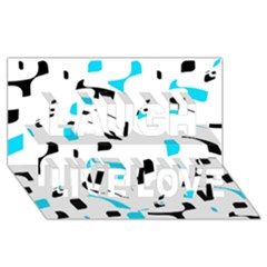 Blue, black and white pattern Laugh Live Love 3D Greeting Card (8x4)