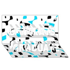 Blue, black and white pattern Congrats Graduate 3D Greeting Card (8x4)