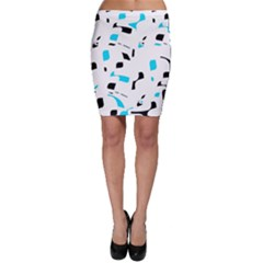 Blue, black and white pattern Bodycon Skirt