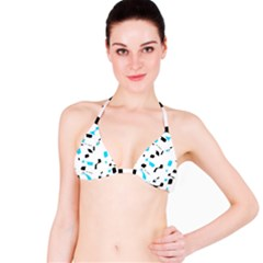 Blue, black and white pattern Bikini Top