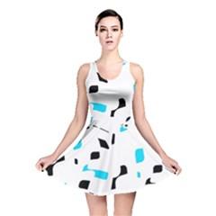 Blue, black and white pattern Reversible Skater Dress
