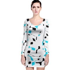Blue, black and white pattern Long Sleeve Bodycon Dress