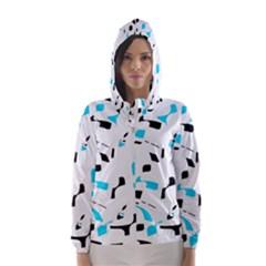 Blue, black and white pattern Hooded Wind Breaker (Women)
