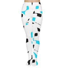 Blue, black and white pattern Women s Tights