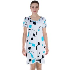Blue, black and white pattern Short Sleeve Nightdress