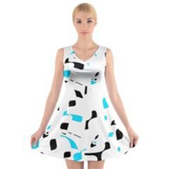 Blue, Black And White Pattern V Neck Sleeveless Skater Dress