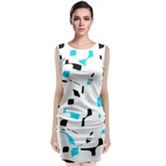 Blue, black and white pattern Classic Sleeveless Midi Dress