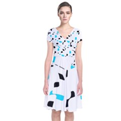 Blue, black and white pattern Short Sleeve Front Wrap Dress