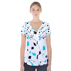 Blue, black and white pattern Short Sleeve Front Detail Top
