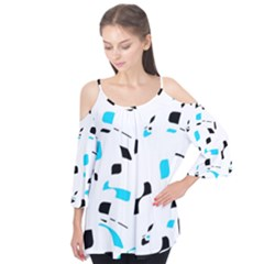 Blue, black and white pattern Flutter Tees