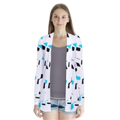 Blue, Black And White Pattern Drape Collar Cardigan