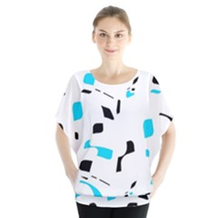 Blue, Black And White Pattern Blouse