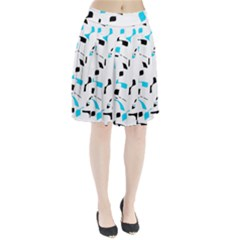 Blue, Black And White Pattern Pleated Skirt