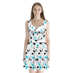 Blue, black and white pattern Split Back Mini Dress