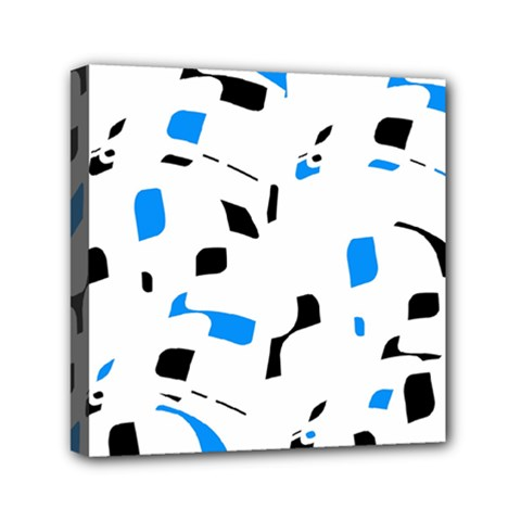 Blue, black and white pattern Mini Canvas 6  x 6