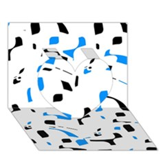 Blue, black and white pattern Heart 3D Greeting Card (7x5)