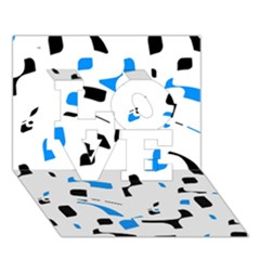Blue, black and white pattern LOVE 3D Greeting Card (7x5)