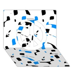 Blue, black and white pattern Peace Sign 3D Greeting Card (7x5)