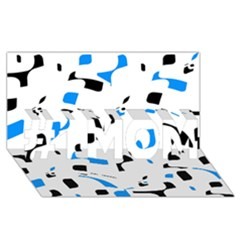 Blue, black and white pattern #1 MOM 3D Greeting Cards (8x4)