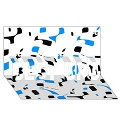 Blue, black and white pattern BEST BRO 3D Greeting Card (8x4)