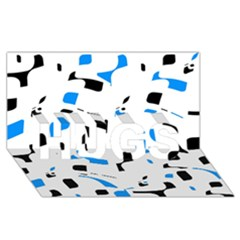 Blue, black and white pattern HUGS 3D Greeting Card (8x4)