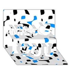 Blue, black and white pattern Miss You 3D Greeting Card (7x5)