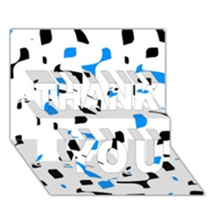 Blue, black and white pattern THANK YOU 3D Greeting Card (7x5)